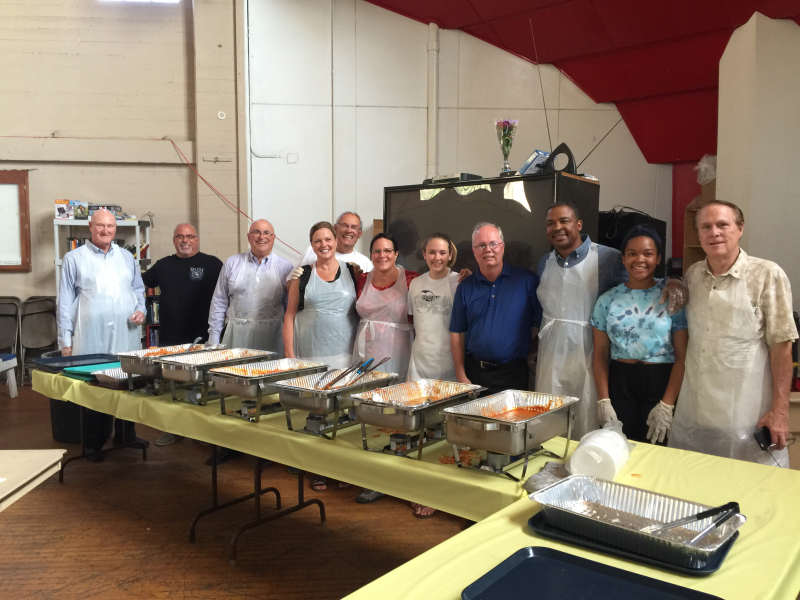 Great Group of Pomona Rotarians feeding our homeless folks at the Pomona Armory